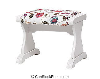 White footstool with floral print isolated With clipping...