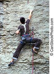 岩石, 登山運動員, 攀登, 向上, 懸崖