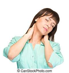 Nurse or woman medical doctor having neck pain - Nurse or...