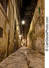narrow alley in Tuscany
