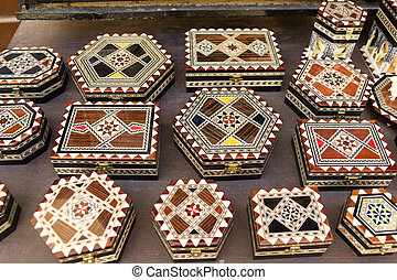 souvenirs of Granada. Boxes with Arabic motifs