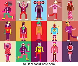 Carnival Costume - People in carnival costumes - vector...