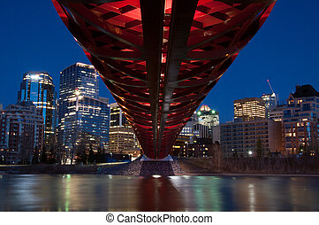 Pedestrian Bridge - The Peace Bridge in Calgary, Alberta...