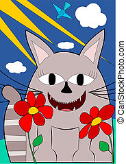 Cat with big smile and two flowers