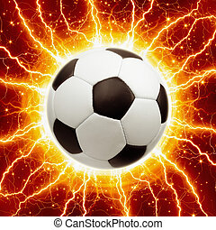 Soccer ball, lightnings - Abstract sports background -...