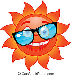 Happy sun in sunglasses - Happy red and hot sun in...