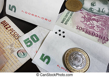 various pesos - Argentina currency - paper and coin pesos...