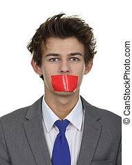 Silenced man - A man with tape over his mouth, isolated on...