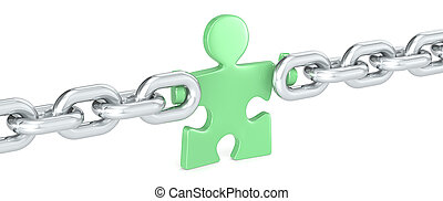 Green Solution - Puzzle people holding Chain Link Green