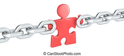 Missing Link. - Puzzle people holding Chain Link. Red.