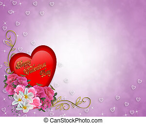 Valentine Heart and Flowers Border