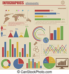 Retro infographics set - World map and information graphics...