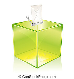 Green ballot box - Transparent green ballot box, for your...