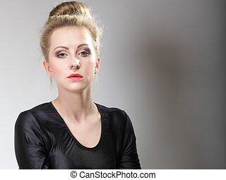 young beautiful girl make up and hair bun - Portrait of...