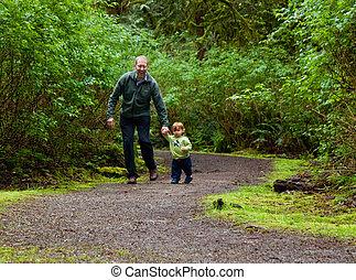 pai,  toddler, selva, passeio