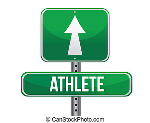 athlete road sign illustration design over a white...