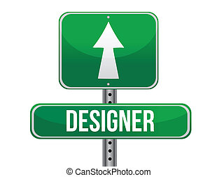 designer road sign illustration design over a white...