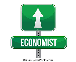 economist road sign illustration design over a white...