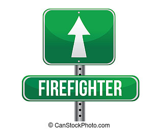 firefighter road sign illustration design over a white...