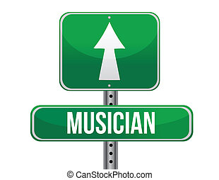 musician road sign illustration design over a white...