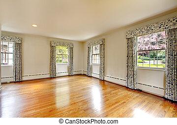 grand, vide, salle, bois dur, plancher, rideaux, vieux,...