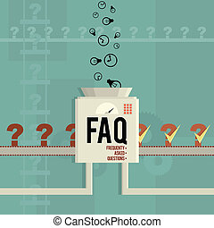 FAQ Machine - Vector illustration of a FAQ machine answering...