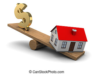 house and dollar seesaw - abstract 3d illustration of house...