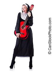 ギター, 修道女, 白, 隔離された, 遊び