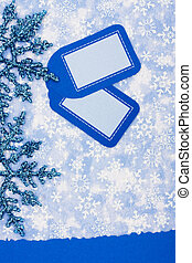 Happy Holidays - Blank card on blue snowflake background,...