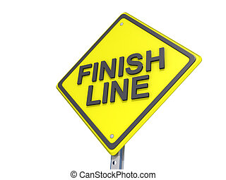 Finish Line Yield Sign White Background - A yield road sign...