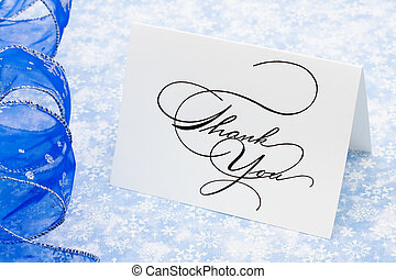 Thank You Card - Thank you card with ribbon on blue...