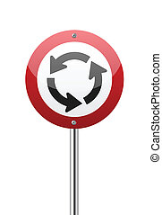 Roundabout crossroad on red traffic sign isolated on white...