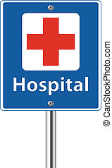 Hospital with red cross sign on white