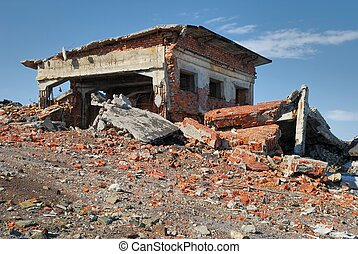 Ruins of the last century - The destroyed building from a...