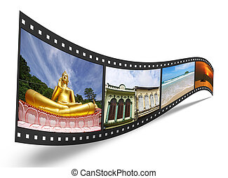 3D film strip with nice pictures of Phuket Thailand, concept...