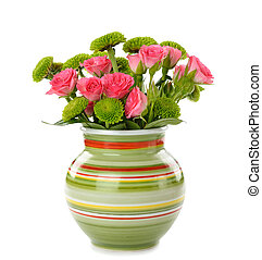 flowers in a vase on a white background - Bouquet of flowers...