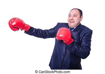 Young businessman boxer isolated on white