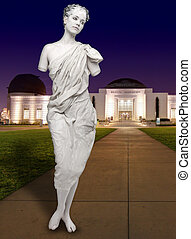 Human Female Statue at the Griffith Observatory - Live Human...
