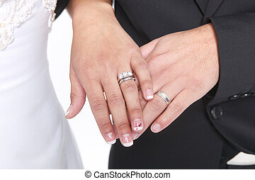 Married Couple With Wedding Rings and Bands