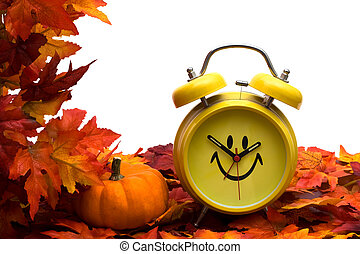 Fall Back Time Change - Fall leaves with yellow clock and...
