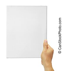 hand holding up a white blank canvas isolated on white background.