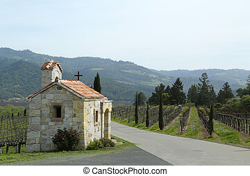 The Chapel next to vineyard in Napa Valley, California