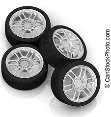 Wheels isolated on white 3d illustration