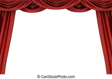 Open red theater curtain - Open red theater curtain,...