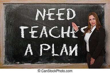 pizarra, actuación,  plan, necesidad, enseña, profesor