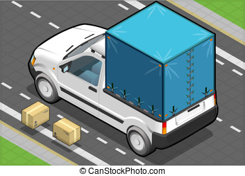 Isometric White Pickup Van with Tarpaulin - detailed...