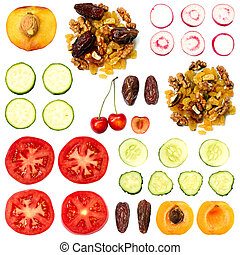 Set of Fruits and Vegetables - Big set of fruits and...