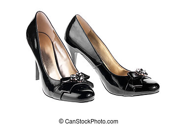 Womens black patent leather shoes, isolated on white
