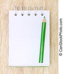 cor, LÁPIS, caderno, madeira
