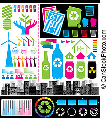Infographic 01 - Rerecycling consept. Vector big set of...